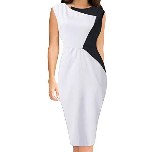 Vimoli Kleider Damen Sommer Boot-Ausschnitt MidiKleid Farbblock Patchwork Sleeveless Kleid unregelmäßiges Partykleid(Weiß,De-46/CN- 4XL)