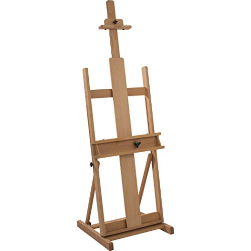 """Creative Mark Carolina Wooden H-Frame Artist Studio Floor Easel Adjustable Multi Angles Small to Extra Large Canvas Paintings up to 84""""h – 90% Assembled – Oiled Beechwood"""