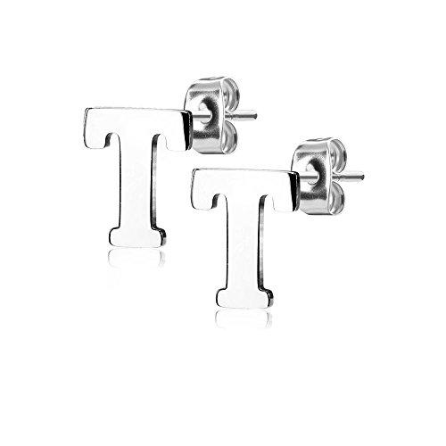 Bungsa® BUCHSTABE T Ohrstecker Silber - BUCHSTABEN T Ohrring in Silber - Alphabet Ohrringe zum Stecken - aus Edelstahl - Ohrschmuck für Damen, Kinder & Herren