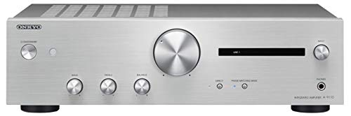 Onkyo A-9110 Integrierter Stereoverstärker (2X 50W Hochstromverstärkung, Wide Range Amplification Technology, gut lesbares Display) Silber
