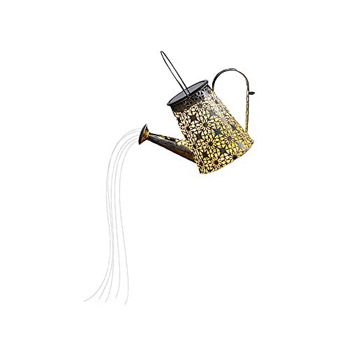 Fiorky Lámparas de riego solares al aire libre, regadera impermeable para jardín, linterna solar, luces de jardín al aire libre, luz blanca cálida, lámparas de jardín solares (con soporte)