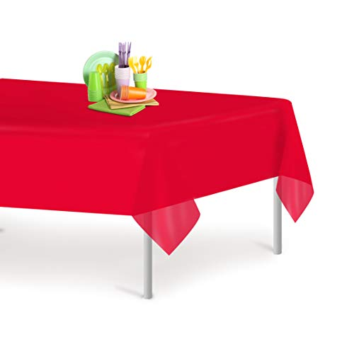 Red 6 Pack Premium Disposable Plastic Tablecloth 54 Inch. x 108 Inch. Rectangle Table Cover by Grandipity