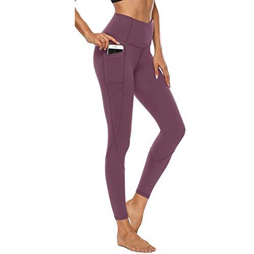 YEBIRAL Sport Leggings Damen High Waist Yogahose Lange Blickdicht Leggings Yoga Hose Sporthose Leggins Fitnesshose mit Taschen(M,Rosa)