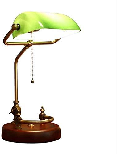Lámpara de banquero tradicional base de madera maciza hecha a mano pantalla de vidrio verde esmeralda lámpara de mesa de escritorio vintage lámparas de escritorio de estilo antiguo
