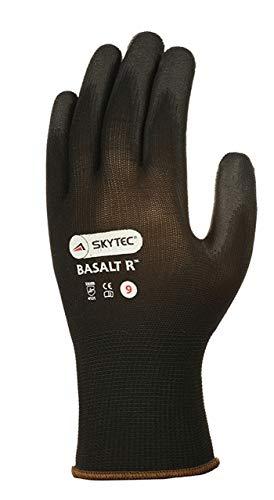 Skytec 1Paar Basalt R PU Arbeitshandschuhe Sicherheit PU-Beschichtung–Größen 6–11erhältlich Gr. 6X-Small, Schwarz