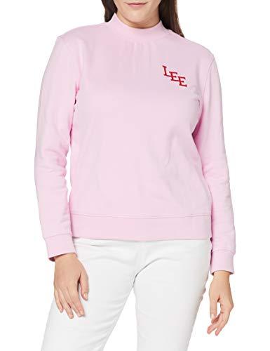 Lee High Neck Logo SWS suéter, Rosa Helada, M para Mujer