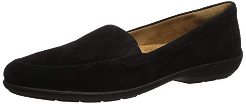 Naturalizer womens Kacy Loafer Flat, Black Suede, 7.5 US