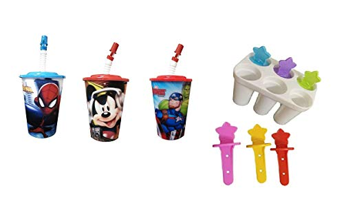 Movik Set of 3 Sipper Glass with Straw 3D Look with Ice Cream Kulfi Maker for Children (Multicolor 3)