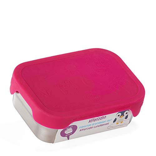 Affenzahn Edelstahl Brotdosen-Set - Kinder Brotdose aus Edelstahl, bpa-frei für Jungen und Mädchen, im Kindergarten und Kita als Lunchbox - Eule - Silber