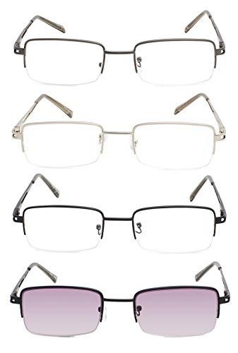 Reading Glasses 4 Pairs Half Frame Metal Readers Women Men Eyeglasses (4 Pairs Mix,+1.75)