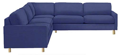 The Heavy Duty Cotton Karlstad Corner Sofa Cover ( 2+3 / 3+2 ) Replacement, Is Custom Made for Ikea Karlstad Sectional Slipcover Replacement (Blue)