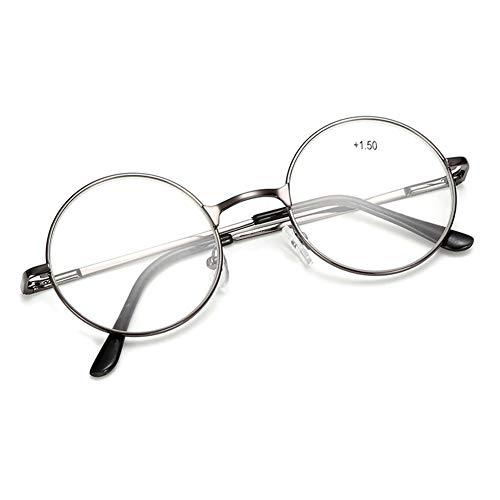 VEVESMUNDO Runde Metall Lesebrille Herren Damen Nickelbrille Lennon Brille Lesehilfe Stärke (Grau, 3.0)