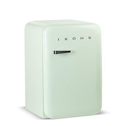 IKOHS Retro Fridge - Frigorífico con diseño, Control de Temperatura Ajustable, Estantes Intercambiables, Estética Vintage de los años 50, Clase Energética A+ (Verde Menta, 83.5 cm)