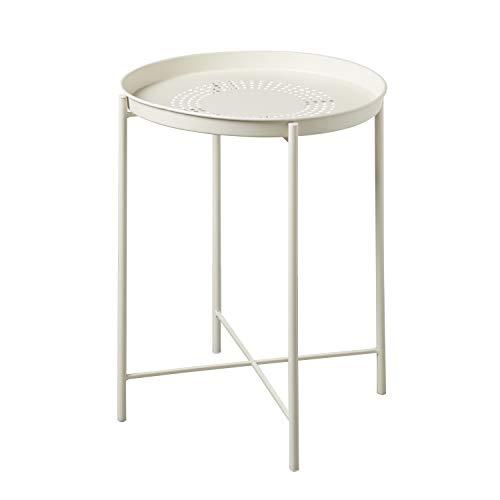 Tavolino da Salotto Rotondo in Ferro Bianco con Vassoio Estraibile 38.5X38.5X52cm