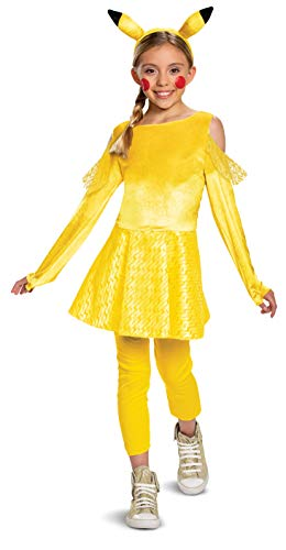 Disguise Pokemon Pikachu Costume for Girls, Deluxe Character Outfit, Kids Size Small (4-6x) Yellow (90763L)