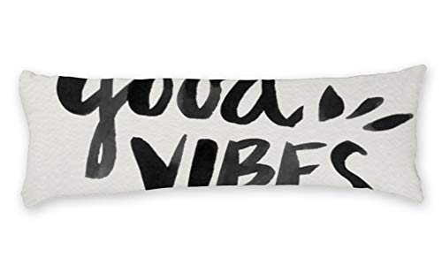 AILOVYO Good Vibes Ink Painting Quote Long Body Pillow Case...