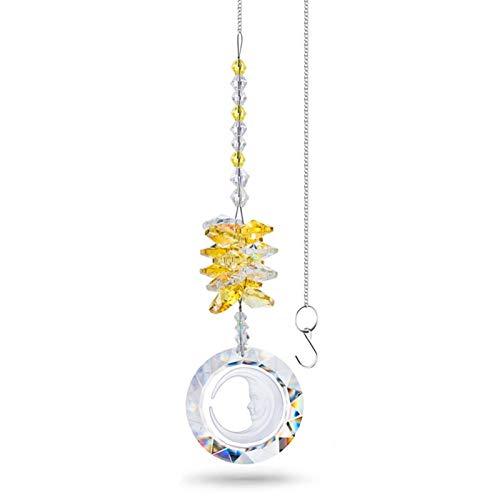 JJZXD Cristallo Rotondo Luna Prisma Gocce di Cristalli appesi Cristalli Cura del Pendente della Decorazione del Pendente/Ornamento del Giardino del Giardino