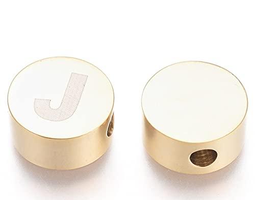 Sadingo 1 perla de metal con letra J de acero inoxidable, gran perla para pulseras, collares, tobilleras, pendientes
