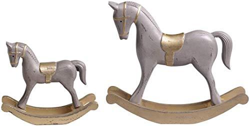 Chic Antique Cavallo a dondolo in legno grigio oro 27 cm Shabby Vintage