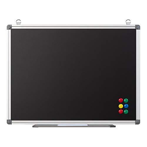 Magnetische Kreidetafel zum Aufhängen - Wandtafel mit Ablage und Kreide-Marker - Blackboard Magnettafel Tafel für Kinder, Büro, Küche, 60x45 cm schwarz