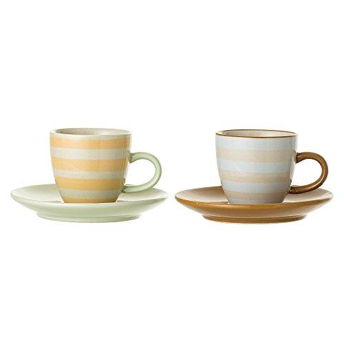 Bloomingville Espressotasse mit Untertasse Miami, gelb braun, Keramik, 2er Set