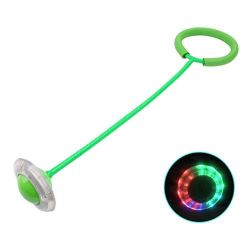 Jump Ball, Jump Ball Juguete para niños Flash elástico Jump Foot On The Yo Yo Set Anillo de pie Rotación Luminosa Anillo de balanceo de piernas (Verde)