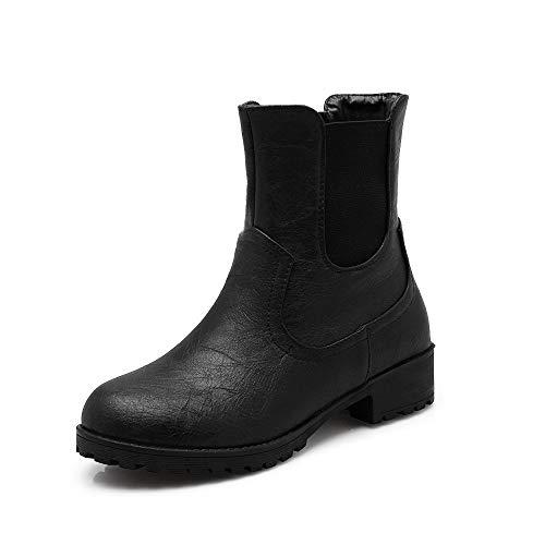 DENGSHENG SHOPS Mode High Heel Damen Stiefel wies Retro Leder Nähte Stiefel Gürtelschnalle Reißverschluss Shorts Boot Größe 34-42 Optional