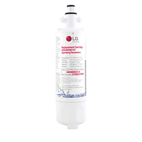LG LT700P Refrigerator Water Filter, Filters up to 200 Gallons of Water, Compatible with Select LG Multi-Door Refrigerators with SlimSpace Plus Ice System, WHITE, Single