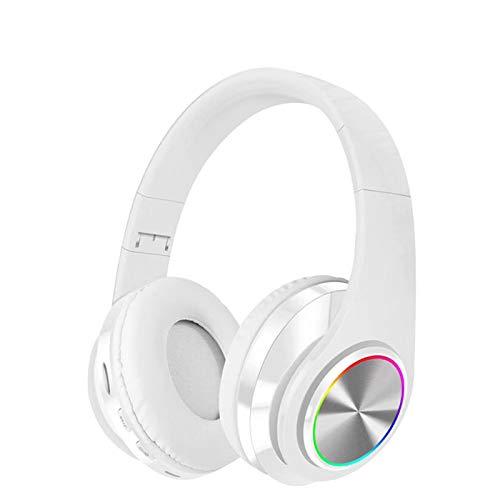 Auricular plegable, estéreo Bluetooth inalámbrico, auriculares inalámbricos con cancelación de ruido activa, aplicable al teléfono, PC, FM, TV (blanco)