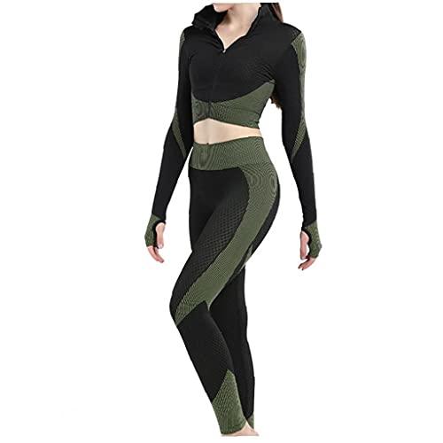 Liadance 3pcs sin Fisuras Las Mujeres Traje Yoga Escudo de Manga Larga Chaleco Polainas de Fitness Gimnasio chándal de Deporte de la Ropa del (Verde, XL)