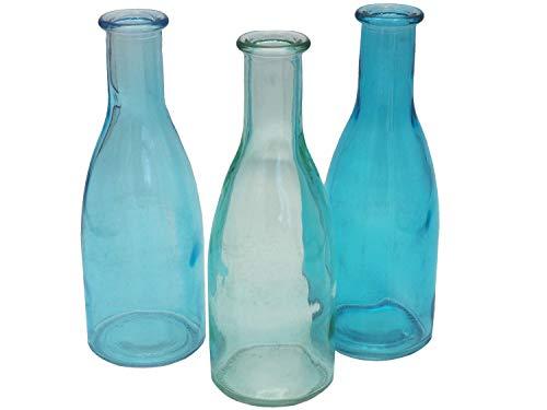 Unbekannt 3 Vasen Glasflaschen Türkis Tischdeko Glasvase Blumenvase Deko Sommer