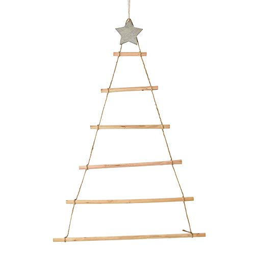 PPuujia Decoraciones de Navidad de madera 2021 Árbol colgante de Navidad de madera estilo nórdico artificial regalos para niños adornos de árbol de Navidad colgantes árbol de Navidad (color de madera)