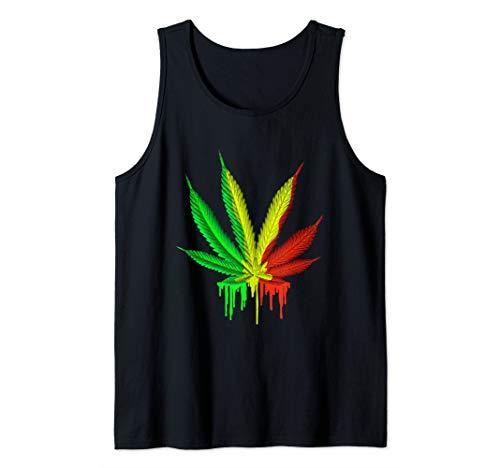Marijuana Leaves Weed Pot Jamaican Rastafarian Leaf Tank Top