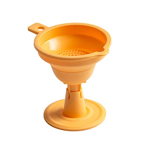 ZLDDE Colgante Portátil Cocina Cocina Colador Suave Silicona con Filtro extraíble Herramienta Plegable de Cocina Plegable. para transferir líquidos, Aceite (Color : Yellow)