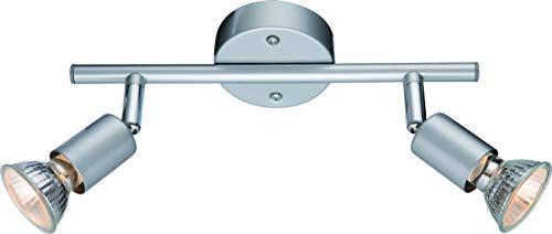 DM Leuchten Deckenlampe LED Lampe schwenkbar 2 flammig inkl. Leuchtmittel 2x 3 Watt, warmweiß, GU 10 Fassung, LED Deckenleuchte LED Strahler LED Spot, Matt Nickel