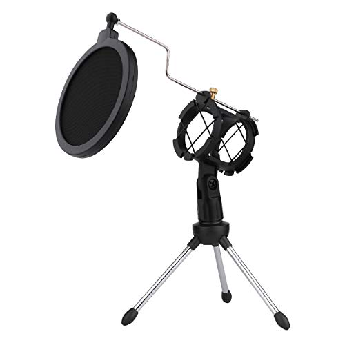 Dreokee Desktop Microphone Tripod Stand, Shock Mount Desk Mic Holder with Pop Filter Net for Podcast Chatting Meeting Live Lecture