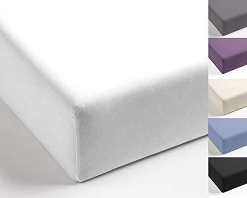 Mistral Home Spannbettlaken Perkal Uni Bettlaken Laken Ägyptische Baumwolle Einfarbig, Farbe:Weiß, Größe:180x200cm