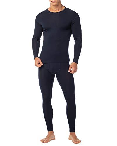 LAPASA Uomo Set Intimo Termico in Lana Merino di Alta qualità T-Shirt Maniche Lunghe & Pantaloni Invernali M31 (XXL, Blu Navy)