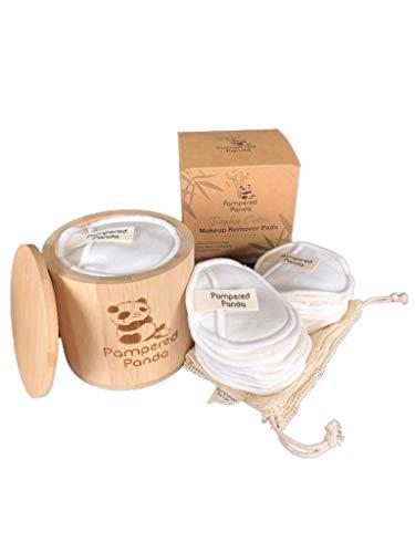 Pampered Panda - Tamponi da trucco in cotone biologico vegano, ecologici, riutilizzabili, confezione da 14 pezzi, con contenitore in bambù e sacchetto in rete di cotone biologico