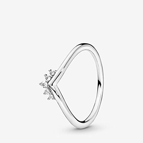Anco Fashion Authentic 100% 925 Sterling Silver Women Rings Tiara Wishbone Ring Heart Shape Rings for Women Jewelry Anniversary