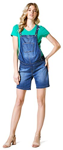 Esprit Maternity Damen Dungaree Denim Bermuda Umstandsoverall, Blau (Medium Wash 960), 38