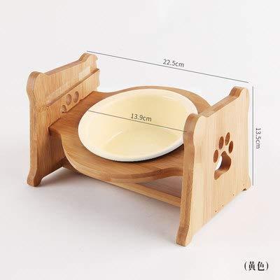 LIZONGFQ Höhenverstellbarer Futterhalter für Haustiere mit keramikschalenhalsschützendem Holzständer-Futterwasserschale für Katzen Hunde Haustierbedarf,E