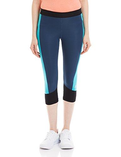 adidas Damen Leggings Techfit Capri Caprihose, Mineral Blue S16/Shock Green S16/Black/Matte Silver, S