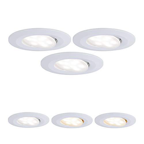 Paulmann 99935 LED Einbauleuchte Calla rund incl. 3x5,5 Watt IP65 Einbaustrahler Weiß matt Schranklicht Kunststoff Einbaulampe 3000 K