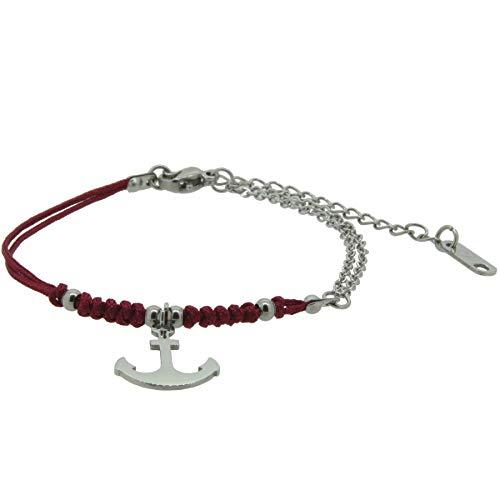 HAFEN-KLUNKER Harmony 110410 - Pulsera de ancla de acero inoxidable, color rojo y plateado
