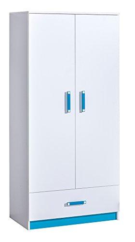 SMARTBett GmbH - Armadio con due ante e 1 cassetto, colore: Bianco/Blu