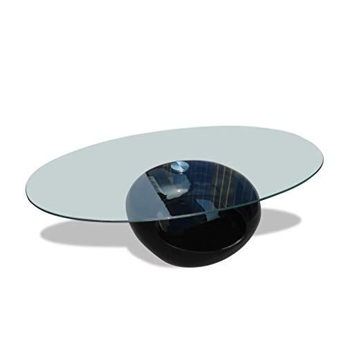 vidaXL Couchtisch ovale Glasplatte Hochglanz Schwarz Beistelltisch Wohnzimmer