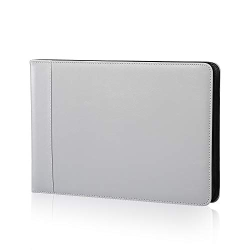 Business Check 7 Ring Checkbook Binder, PU Leather Portfolio, Built in Storage Organizer [Gray]