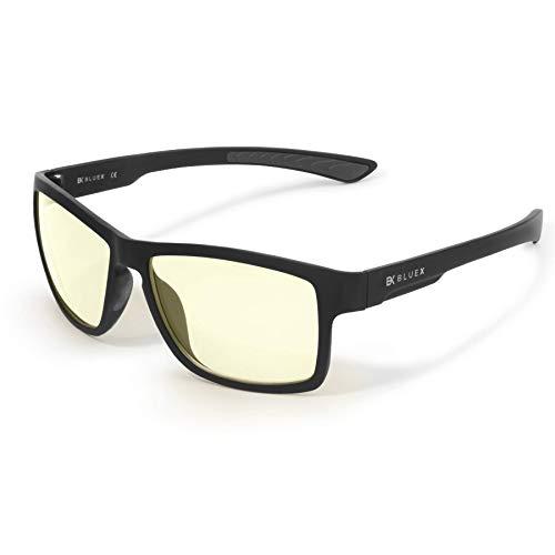 BlueX EVO - Gaming 2.0 - Gafas con Filtro de Luz Azul > 50% - TR90 ultraligero - Relajantes para PC, Videojuegos y TV – Anti-reflejantes – Bloquean la Luz Azul de las Pantallas