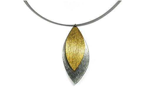 Beldacci - Damen - Halskette - 2 übereinander liegende Blätter in silber und gold - Anhänger Metall gebürstet - bicolor